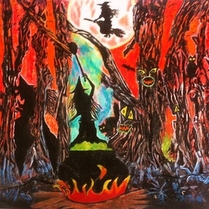 (CreativeWork) Halloween by Janine H. arcylic-painting. Shop online at Bluethumb.