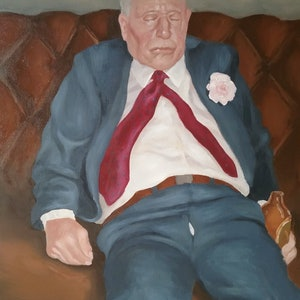 (CreativeWork) He Likes a Drink by Jemma Cakebread. oil-painting. Shop online at Bluethumb.