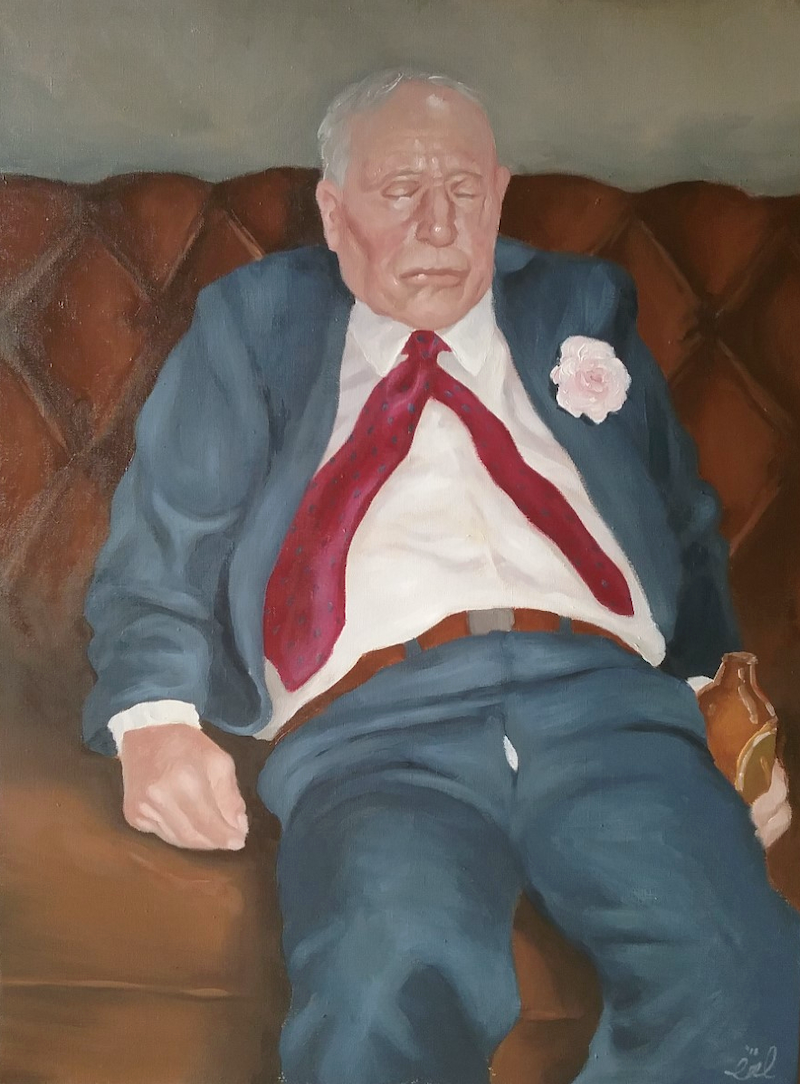 (CreativeWork) He Likes a Drink by Jemma Cakebread. Oil Paint. Shop online at Bluethumb.
