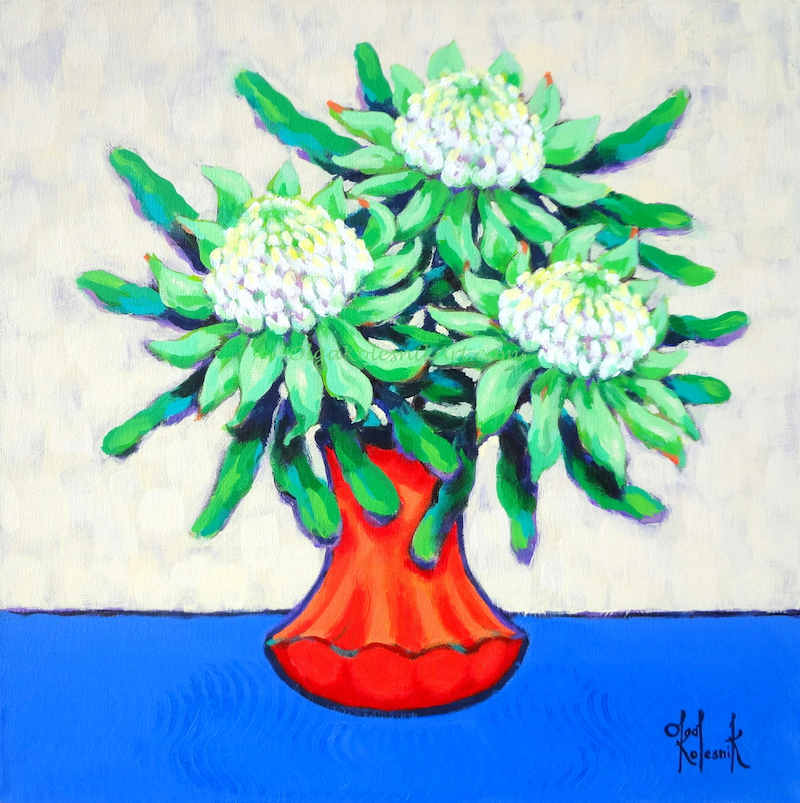 (CreativeWork) White Waratahs in Orange Vase by Olga Kolesnik. arcylic-painting. Shop online at Bluethumb.