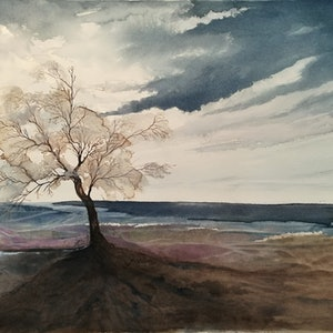 (CreativeWork) The Sentinel by Lucinda Leveille. watercolour. Shop online at Bluethumb.
