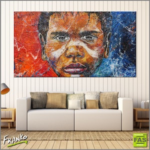 (CreativeWork) Boy Warrior Blu 190cm x 100cm textured gloss finish Highly textured base. Abstract Realism Australian Aboriginal by _Franko _. arcylic-painting. Shop online at Bluethumb.