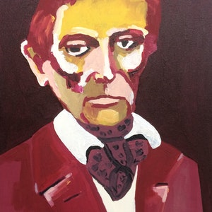 (CreativeWork) Lincoln, beardless by Sharon Monagle. acrylic-painting. Shop online at Bluethumb.