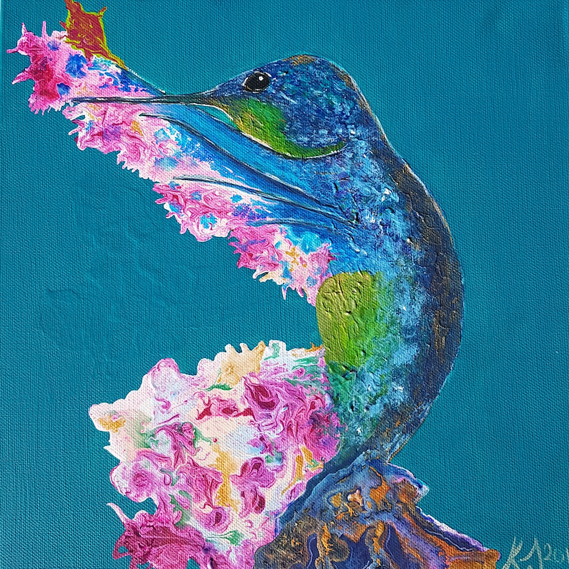 (CreativeWork) Hummingbird named Hannah by Kat Schmitt. arcylic-painting. Shop online at Bluethumb.