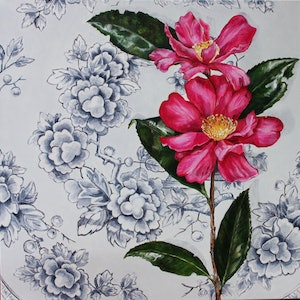 (CreativeWork) Tunstall Camellias by Alicia Cornwell. oil-painting. Shop online at Bluethumb.