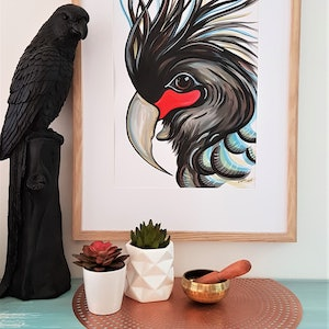 (CreativeWork) Palm Cockatoo on Paper  by Lisa Fahey. watercolour. Shop online at Bluethumb.