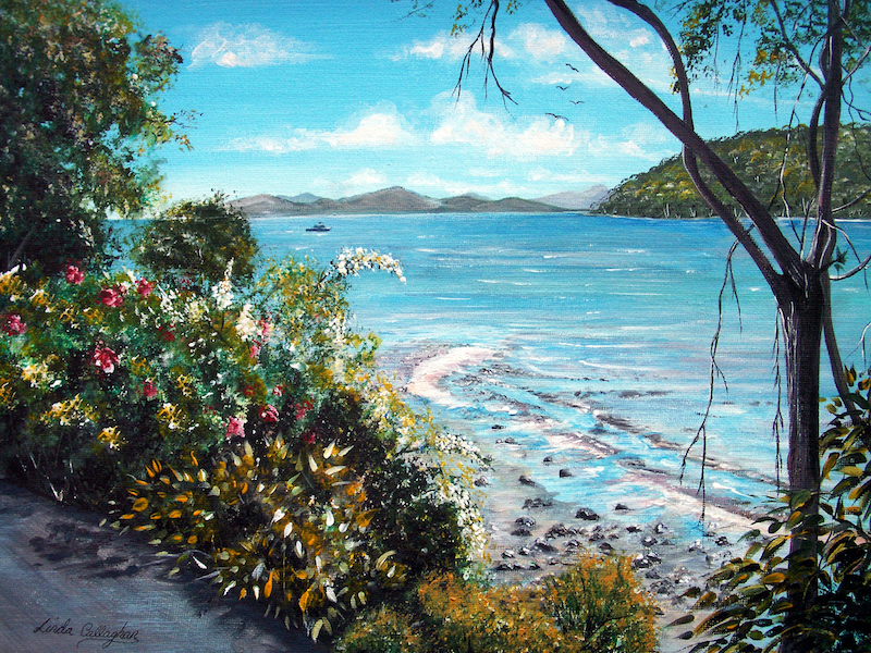 (CreativeWork) Sanctuary, Long Island Australia by Linda Callaghan. arcylic-painting. Shop online at Bluethumb.