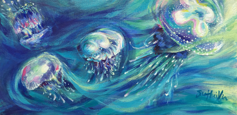 (CreativeWork) The Jellyfish Dance (2018) by Huixin Su. arcylic-painting. Shop online at Bluethumb.