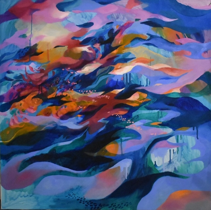 (CreativeWork) Flow State by Nicole Black. oil-painting. Shop online at Bluethumb.