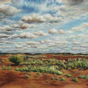 (CreativeWork) The Red Outback, Australia (2017)  by Huixin Su. arcylic-painting. Shop online at Bluethumb.
