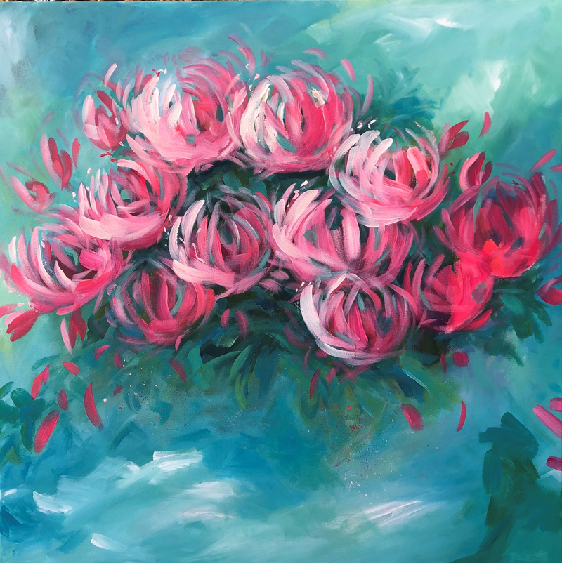 (CreativeWork) Florabella - Flowers Series by Jen Shewring. Acrylic Paint. Shop online at Bluethumb.
