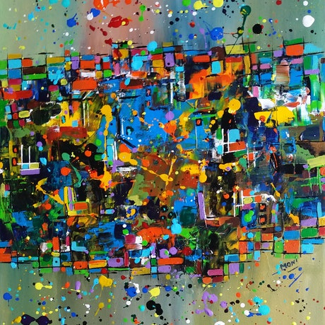 (CreativeWork) Melbourne,A colorful city by Munesh Duhan. Acrylic Paint. Shop online at Bluethumb.
