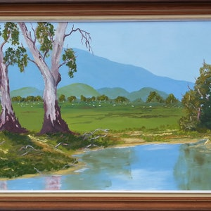 (CreativeWork) Gum Trees by the Waterhole. Framed. by owen jones. oil-painting. Shop online at Bluethumb.