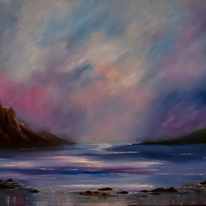 (CreativeWork) Quiet Cove by Debra Dickson. oil-painting. Shop online at Bluethumb.