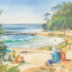 (CreativeWork) Another Summer's Day at Mollymook Beach by Anica Amphlett. watercolour. Shop online at Bluethumb.