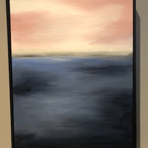 (CreativeWork) THAT SOFT PINK SKY - FRAMED Abstract horizon by Kerry Leigh Art. arcylic-painting. Shop online at Bluethumb.