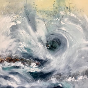 (CreativeWork) Riding the  Storm by Ann Rayment. mixed-media. Shop online at Bluethumb.