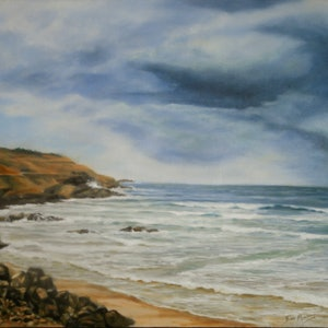 (CreativeWork) Storm Rolling In at Coff,s Harbour by Bob Murray. oil-painting. Shop online at Bluethumb.