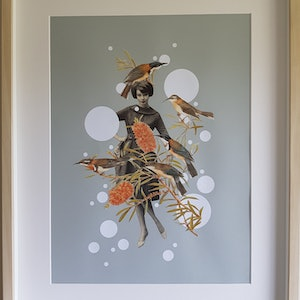 (CreativeWork) 'What bird is that?' #4 by Karen Coull. mixed-media. Shop online at Bluethumb.