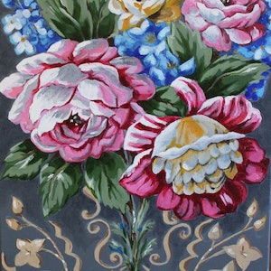 (CreativeWork) Antique Roses & Florals - Lino Series by Alicia Cornwell. oil-painting. Shop online at Bluethumb.
