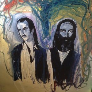 (CreativeWork) Nick Cave and Warren Ellis by Sam Evans. arcylic-painting. Shop online at Bluethumb.