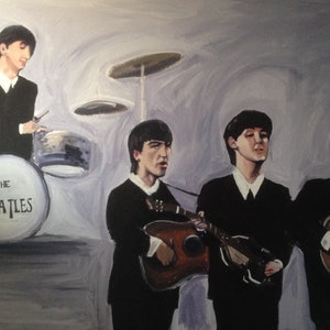 (CreativeWork) The Beatles  by Sam Evans. arcylic-painting. Shop online at Bluethumb.