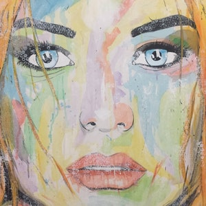 (CreativeWork) Portrait of Scarlet by Rohsaan McInnes. arcylic-painting. Shop online at Bluethumb.