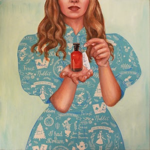 (CreativeWork) Drink Me by Leah Mariani. oil-painting. Shop online at Bluethumb.