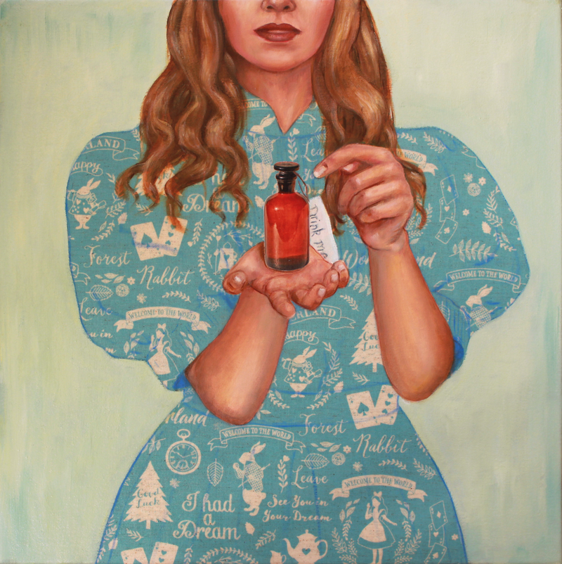 (CreativeWork) Drink Me by Leah Mariani. Oil Paint. Shop online at Bluethumb.