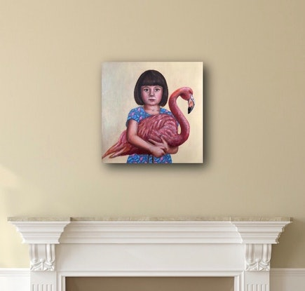 (CreativeWork) Flamingo by Leah Mariani. Oil Paint. Shop online at Bluethumb.