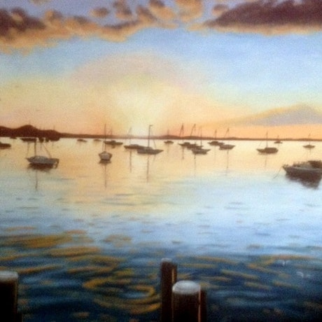 (CreativeWork) Sunrise on Water by Carol Stewart. Oil Paint. Shop online at Bluethumb.