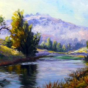 (CreativeWork) Hunter Valley NSW   oil on board by Christopher Vidal. oil-painting. Shop online at Bluethumb.