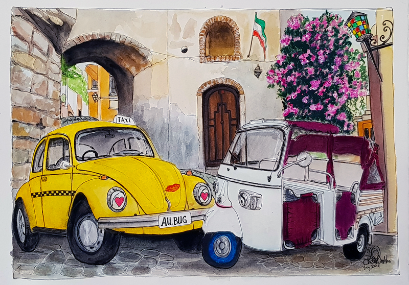 (CreativeWork) Taxi in Sicily in Love! by Chelle Destefano. watercolour. Shop online at Bluethumb.