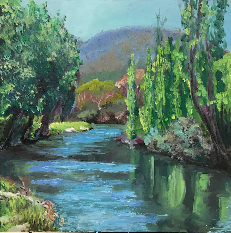 (CreativeWork) Peaceful River, Jindabyne by fiona smith. oil-painting. Shop online at Bluethumb.