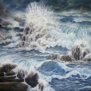 (CreativeWork) Perilous Heading by Bob Murray. oil-painting. Shop online at Bluethumb.