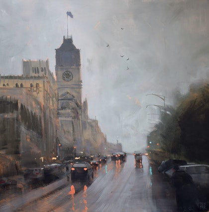 (CreativeWork) Showers at Ballarat by Mike Barr. arcylic-painting. Shop online at Bluethumb.