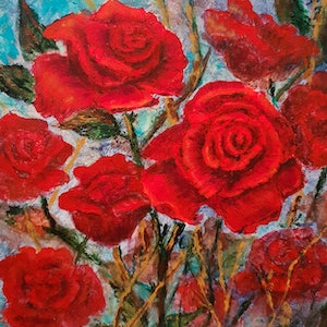(CreativeWork) Red Roses 3 by Sandy Barbara. arcylic-painting. Shop online at Bluethumb.