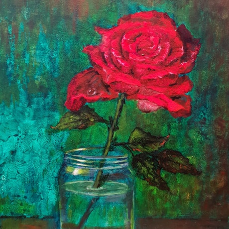 (CreativeWork) Red Roses 4 by Sandy Barbara. Acrylic Paint. Shop online at Bluethumb.