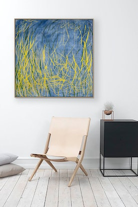 (CreativeWork) 'The Mangrove' mixed media on canvas with Natural Timber Frame. Needs 2 weeks for framing.  by George Hall. Mixed Media. Shop online at Bluethumb.