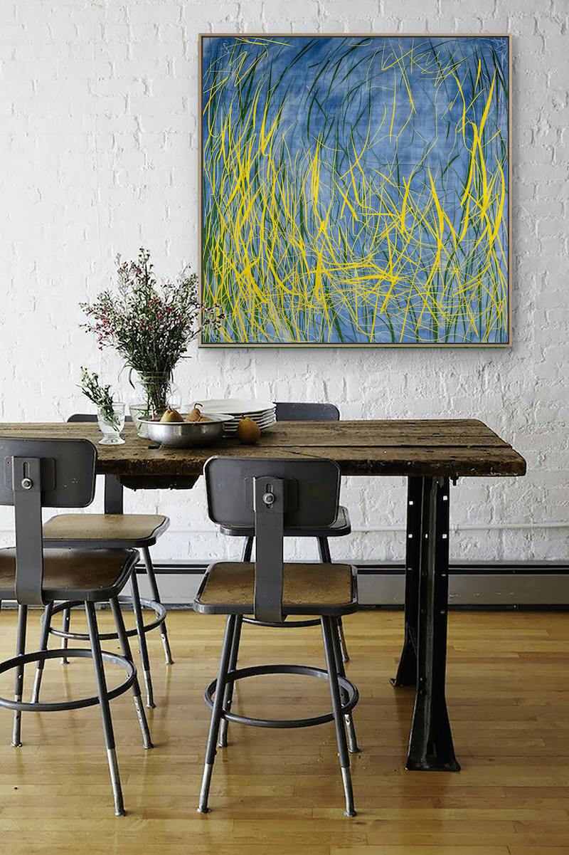 (CreativeWork) 'The Mangrove' mixed media on canvas with Natural Timber Frame. Needs 2 weeks for framing.  by George Hall. mixed-media. Shop online at Bluethumb.