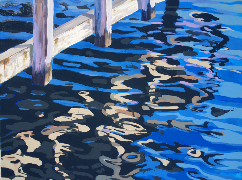 (CreativeWork) Jetty Reflections by Carmen McFaull. oil-painting. Shop online at Bluethumb.