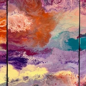 (CreativeWork) Vibrancy - modern contemporary art triptych by Debra Ryan. mixed-media. Shop online at Bluethumb.