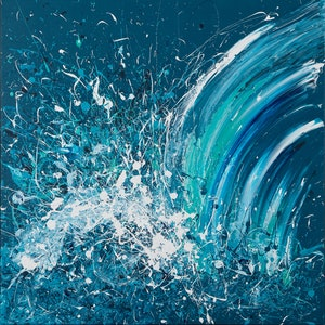 (CreativeWork) 'Winter Swell - Kilcunda'  Wave Series 2018 by Annette Spinks. mixed-media. Shop online at Bluethumb.