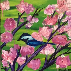 (CreativeWork) Bird for the Trees by Katie Lambert. arcylic-painting. Shop online at Bluethumb.