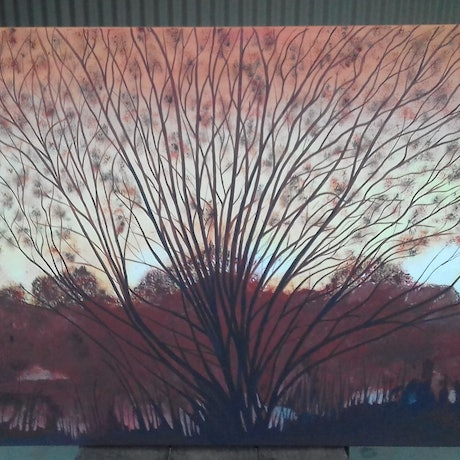 (CreativeWork) Winter Sunset in the Valley by Peter Petruzzella. Acrylic Paint. Shop online at Bluethumb.