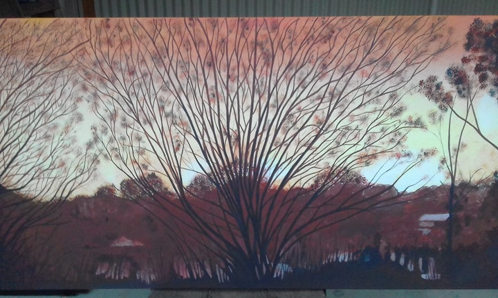 (CreativeWork) Winter Sunset in the Valley by Peter Petruzzella. arcylic-painting. Shop online at Bluethumb.