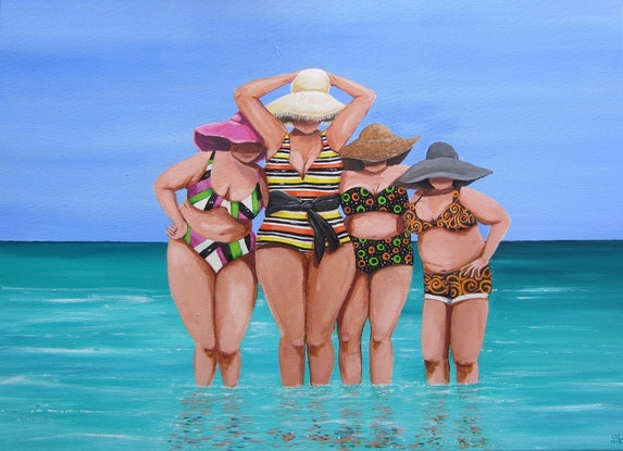 (CreativeWork) Licorice Allsorts Ladies by Andrea Berry. Acrylic Paint. Shop online at Bluethumb.