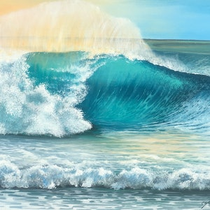 (CreativeWork) In the Surf by Christine Young. arcylic-painting. Shop online at Bluethumb.