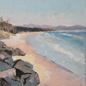 (CreativeWork) Three Birds at Byron Bay by Nicole Burr. oil-painting. Shop online at Bluethumb.
