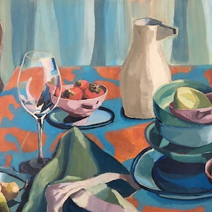 (CreativeWork) Julie's Table by Kobie Bosch. oil-painting. Shop online at Bluethumb.